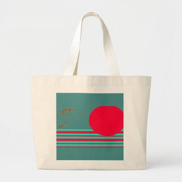 Beach Themed Jumbo Red Island Sun Graphic Tote