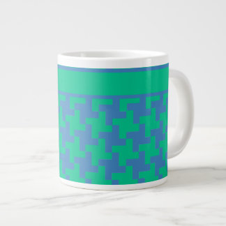 Jumbo-sized Mug, Emerald and Blue Dogtooth Giant Coffee Mug