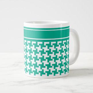 Jumbo-sized Mug, Emerald Green Dogtooth Check Giant Coffee Mug