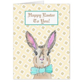 Jumbo Sized Vintage Bunny Rabbit Happy Easter Card