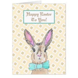 Jumbo Sized Vintage Bunny Rabbit Happy Easter Card