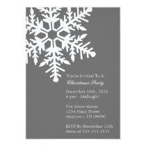 Jumbo Snowflake Christmas Party Invitation (Gray)