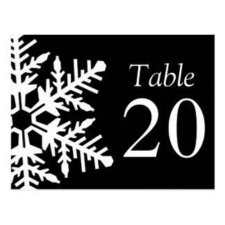 Jumbo Snowflake Table Numbers (Black / White) Postcard