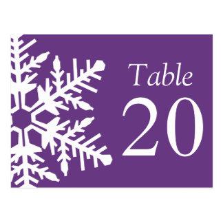 Jumbo Snowflake Table Numbers (Dark Purple/White) Postcard