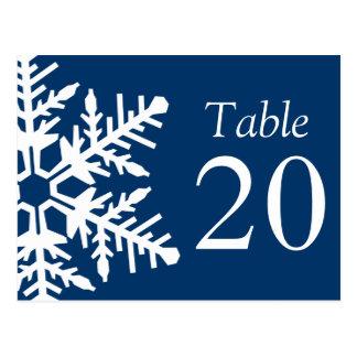 Jumbo Snowflake Table Numbers (Navy Blue / White) Postcard