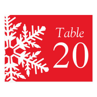 Jumbo Snowflake Table Numbers (Red / White) Postcard