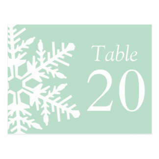 Jumbo Snowflake Table Numbers (Sage Green / White) Post Cards