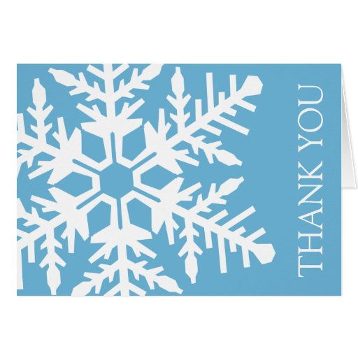 Jumbo Snowflake Thank You Card (Sky Blue / White)