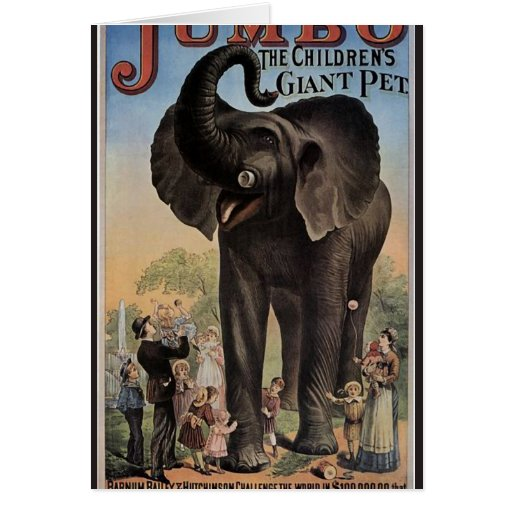 Jumbo The Giant Elephant Retro Theater Greeting Card