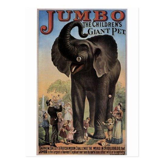 Jumbo The Giant Elephant Retro Theater Postcard