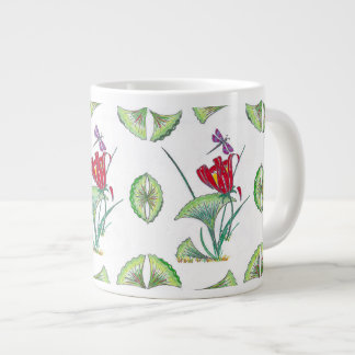 Jumbo Topical Ginkgo Floral White Mug