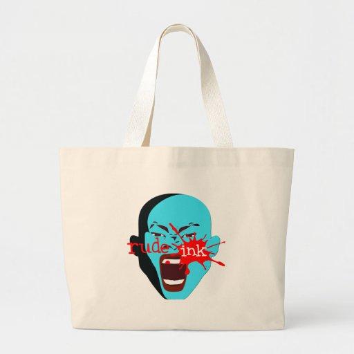 jumbo tote bag Rude Ink screaming face grocery bag