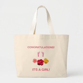 Jumbo Tote congratulating arrival of baby girl. Bag