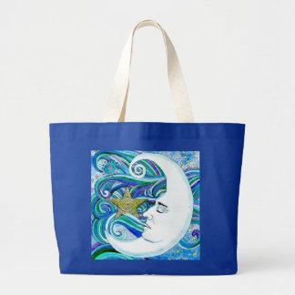 Jumbo Tote-Large Blue Moonface Large Tote Bag