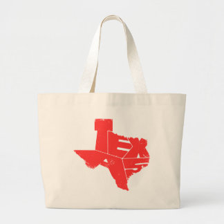 Jumbo Tote with Texas State Map Red Lettering