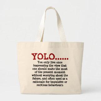 Jumbo Tote YOLO.... Red Black Canvas Bag
