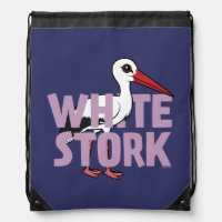 Jumbo White Stork Basic Nylon Drawstring Backpack