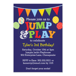Jump and Play Balloons Invitation (Navy Blue)