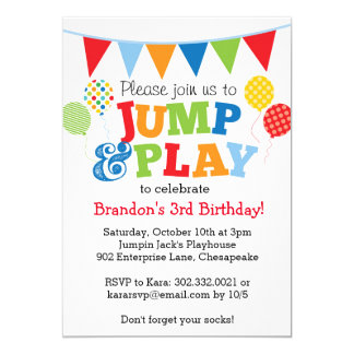 Jump and Play Balloons Invitation (Primary)
