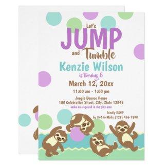 Jump and Tumble Sloths Birthday Party Invitation