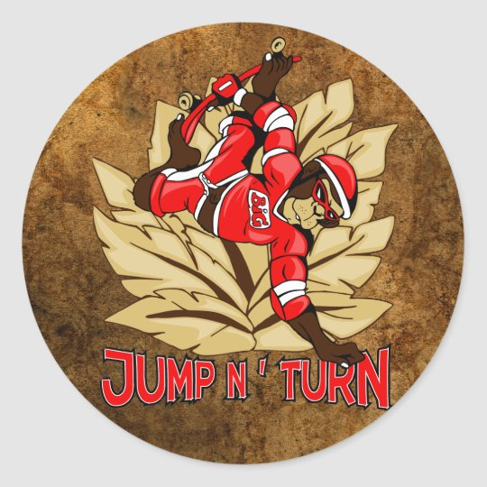Jump and Turn Skateboard Monkey Classic Round Sticker
