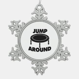 Jump Around Trampoline Snowflake Pewter Christmas Ornament
