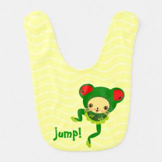 jump baby frog baby bibs