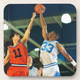 Jump ball in basketball game drink coaster
