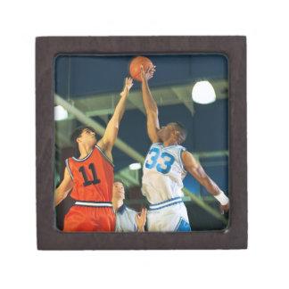 Jump ball in basketball game jewelry box