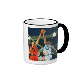 Jump ball in basketball game mugs