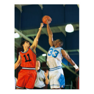 Jump ball in basketball game postcard