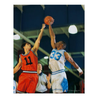 Jump ball in basketball game poster