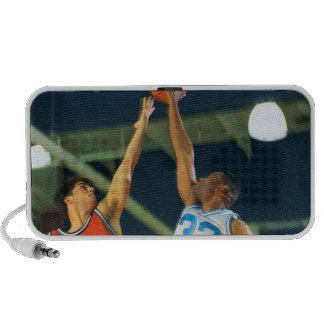 Jump ball in basketball game speaker