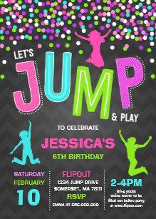 Jump Birthday Invitation Trampoline Party