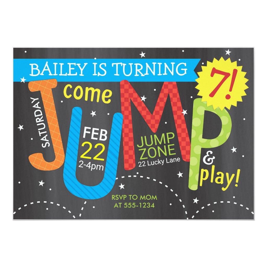 Jump Birthday Party - Brights on Chalkboard Invitation