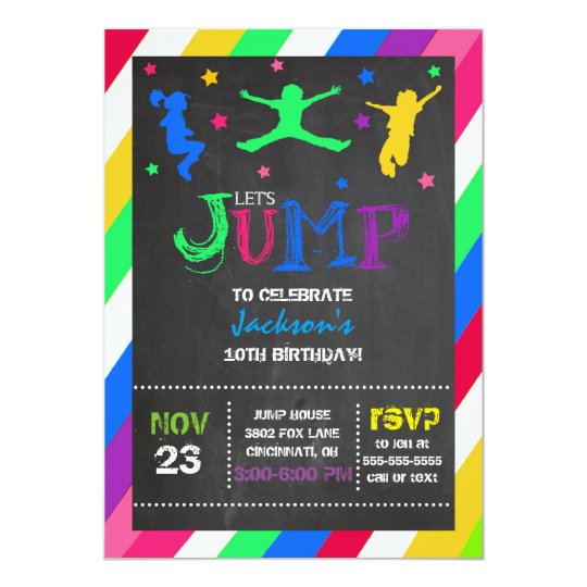 Trampoline Party Invitations: Jump Bounce House Trampoline Birthday Invitation