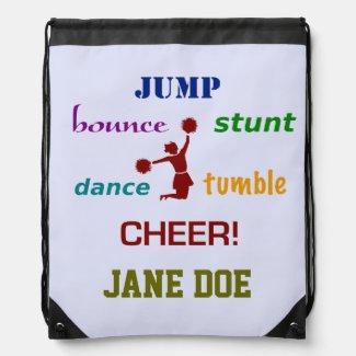 Jump, Bounce, Stunt Cheerleader Drawstring Backpack