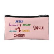 Jump, Bounce, Stunt Cheerleader Small Cosmetic Bag at Zazzle