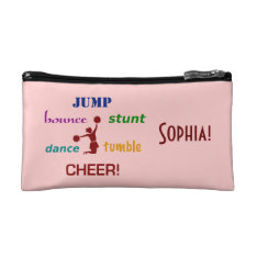 Jump, Bounce, Stunt Cheerleader Small Cosmetic Bag at Zazzle