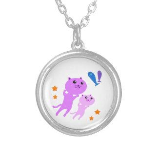 Jump Cat Round Pendant Necklace