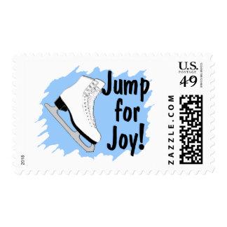 Jump For Joy Blue Figure Skate Postage Stamp