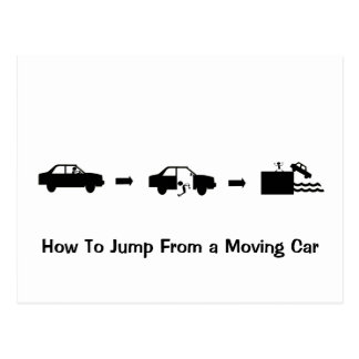 Jump From a Moving Car Post Card