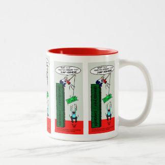 JUMP HIGHER brilliant sarcastic cartoon Two-Tone Coffee Mug