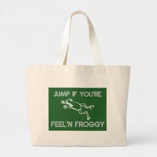 Jump if you're feelin froggy green tote bag