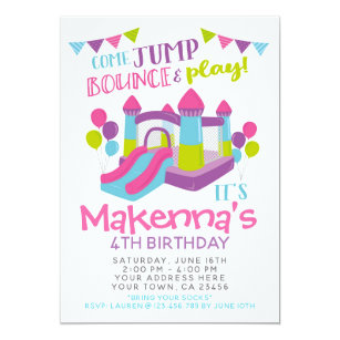Jump Invitation Girl Trampoline Birthday Party