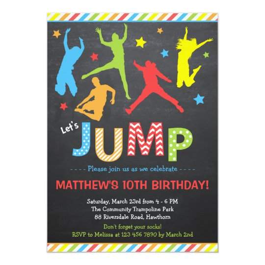 Jump Invitation Trampoline Birthday Invitation Zazzlecom