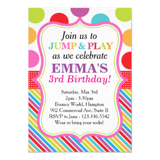 Jump, Play and Bounce Party Invitation (Pink)