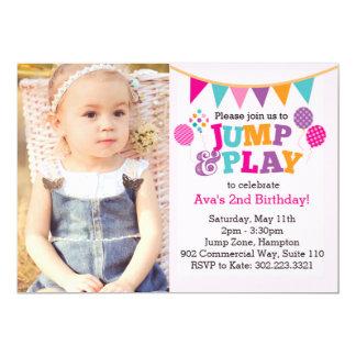 Jump & Play Balloons Photo Invitation (Pink)