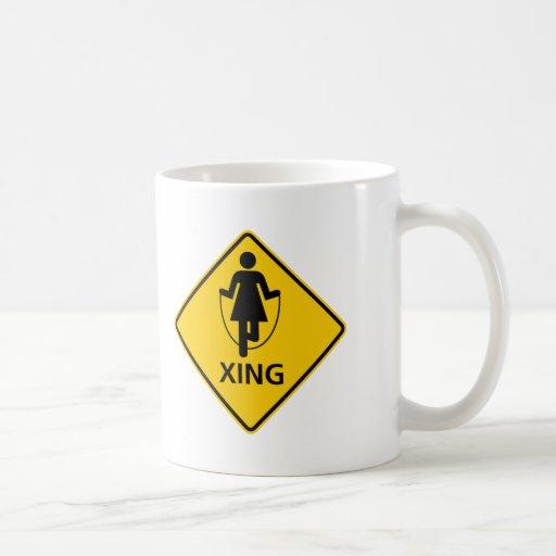Jump Rope Crossing Highway Sign Coffee Mugs