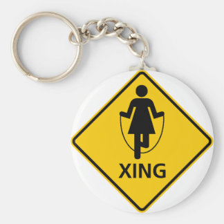 Jump Rope Crossing Highway Sign Keychain